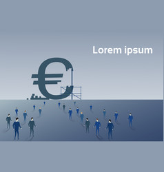 business people group walking to big euro sign vector image vector image