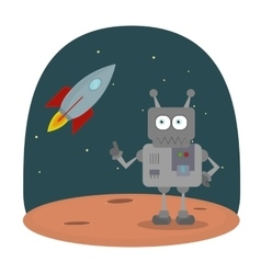 Cartoon character of robot on planet in vector image vector image