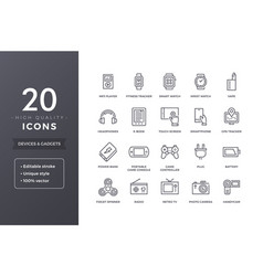 electronic devices line icons vector image vector image