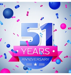 Fifty one years anniversary celebration on grey vector