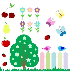 Set of flowers fruits butterflies birds vector image