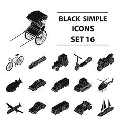 transportation set icons in black style big vector image vector image