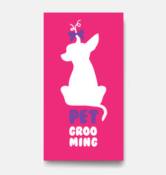business card template of pet grooming with little vector image vector image
