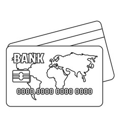 Credit card icon outline style vector