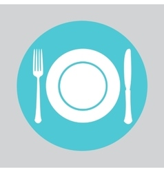Dish fork and knife icon vector image vector image