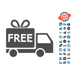 free delivery flat icon with free bonus elements vector image vector image