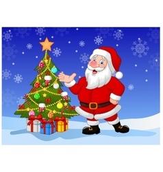Happy Santa cartoon waving hand vector image vector image