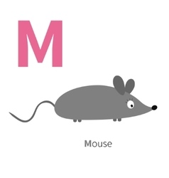 Letter M Mouse Zoo alphabet English abc with vector image