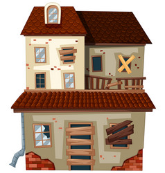 old house with red roof vector image vector image