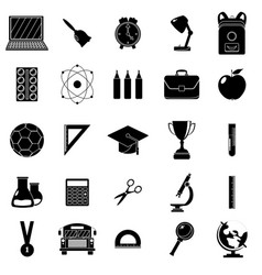 set of school icons black and white style white vector image