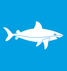 shark fish icon white vector image vector image