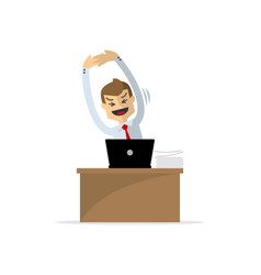 A businessman or employee stretching vector