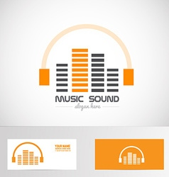 Audio music volume sound headphones logo vector image