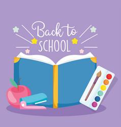 Back to school open book palette color paintbrush vector