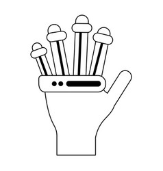 Bionic hand technology symbol in black and white vector