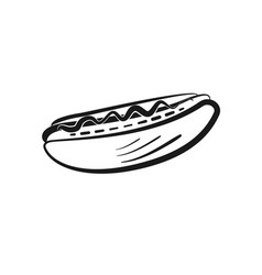 black isolated outline hot dog icon vector image