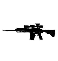 black silhouette sniper rifle vector image