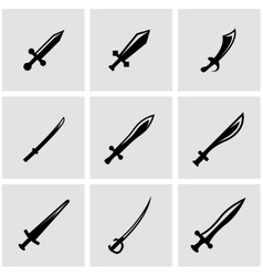 black sword icon set vector image
