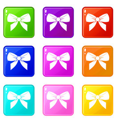 Bow icons 9 set vector