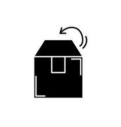 box packing black icon sign on isolated vector image