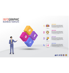 Business infographic template block style with 4 vector
