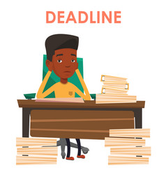 Business man having problem with deadline vector