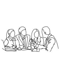 business people team sit at desk together vector image