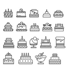 Cakes isolated line icon birthday and wedding vector