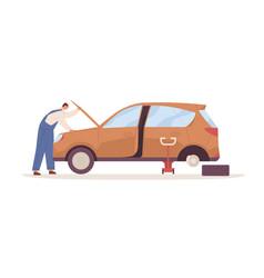 Car mechanic repairing auto with open hood raised vector