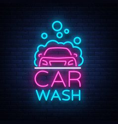 car wash logo design in neon style vector image