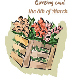 Card with tulips in basket on march 8 th vector