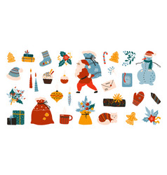 cartoon christmas elements winter holiday vector image
