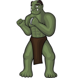 Cartoon orc with knuckles vector