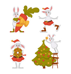 christmas rabbits bunnies or hares and xmas tree vector image