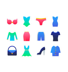 clothes - set flat design style icons vector image