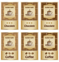 Coffee and chocolate labels vector