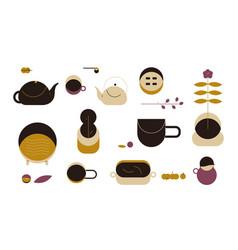 coffee and tea set tea and cups teapot vector image