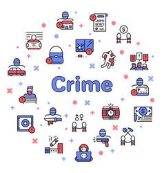 color line icon round set crime vector image
