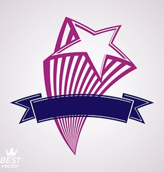 Comet 3d flying star with decorative ribbon vector