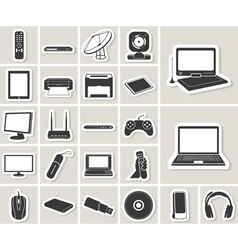 Computer electronic and media device icons set vector image vector image