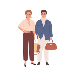 couple modern mature colleagues isolated vector image