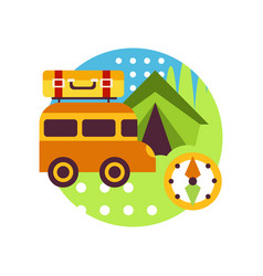 Creative landscape with van bus tent and compass vector