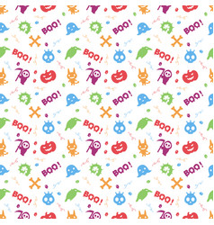 cute colorful halloween pattern background vector image