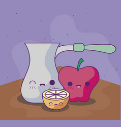 cute teapot with delicious food kawaii style vector image