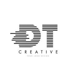 Dt d t zebra letter logo design with black and vector