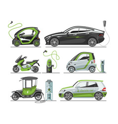 Electric car with solar panels eco transport vector