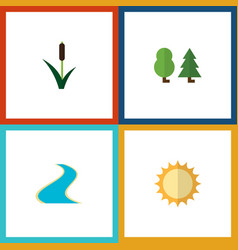 Flat icon nature set of tributary solar cattail vector