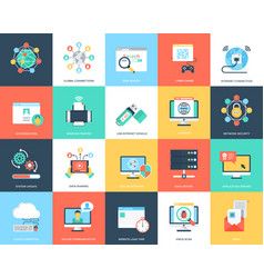 Flat icons internet security and technology vector