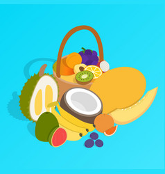 fruit basket clip art isometric style vector image