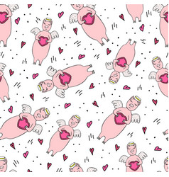 funny seamless pattern for valentines day vector image